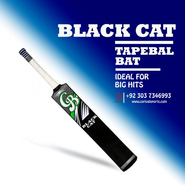 CB Black Cat Rawlakot Wood Tape Ball Cricket Bat ☑️Length: 35 inch ☑️Width : 4.4 inch ☑️Weight : 800 to 850 grams ☑️Double Pressed Wood ( Full combination for Smashing) ☑️Full Cane Handle Super comfortable Grip